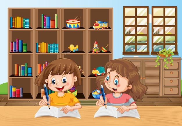 Dwoje dzieci odrabiających pracę domową na scenie w pokoju