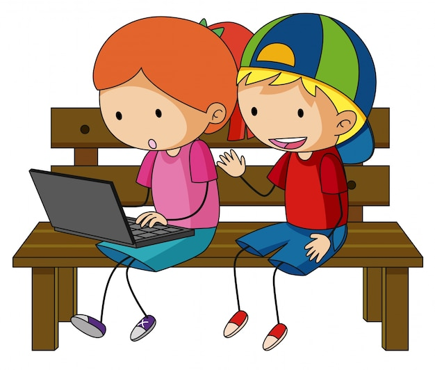 Dwoje dzieci pracuje na komputerze przenośnym