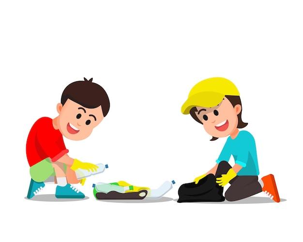 Dwoje dzieci sprzątających porozrzucane śmieci
