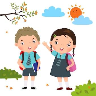 Dwoje dzieci w mundurkach szkolnych idzie do szkoły
