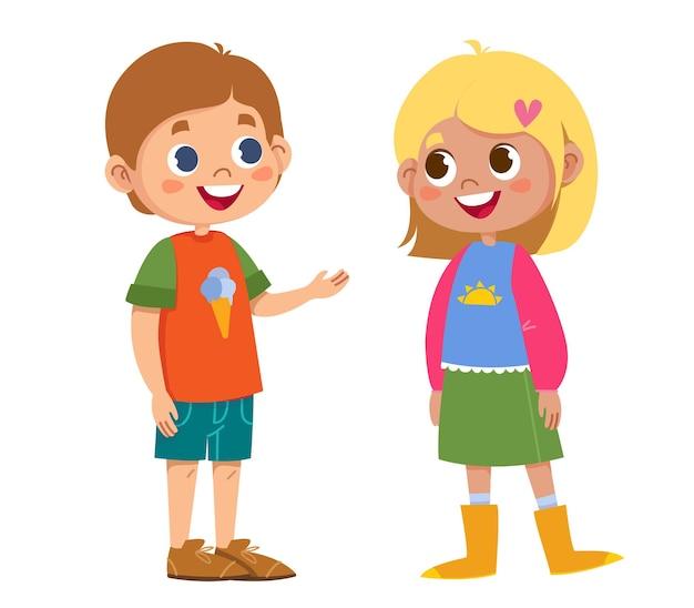 Dwoje dzieci w wieku szkolnym mówi wektor. brat i siostra rodziny znaków. dzieciaki chłopiec i dziewczynka. ilustracja zabawny zestaw clipartów. izolowany obraz clipart