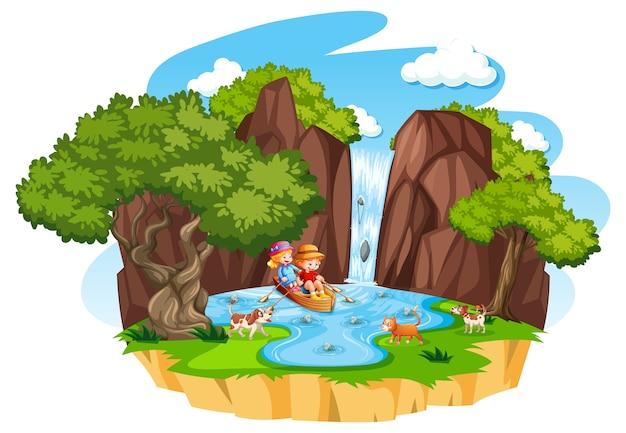 Dwoje dzieci wiosłuje łodzią na wodospad ze swoim zwierzakiem na białym tle