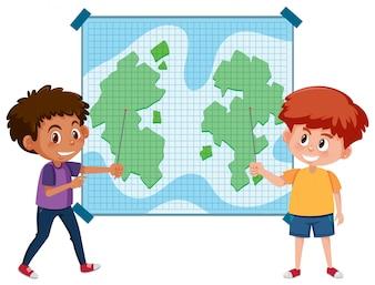 Dwoje dzieci, wskazując na mapie