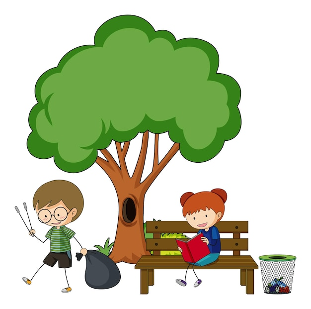 Dwoje dzieci wykonujących różne czynności z dużym drzewem na białym tle