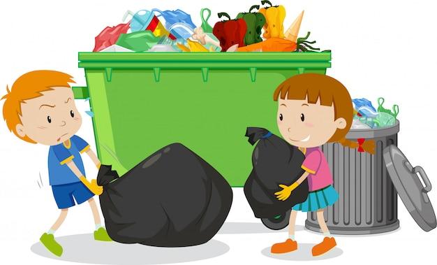 Dwoje dzieci wyrzuca śmieci do kosza
