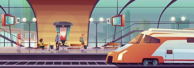 Dworzec kolejowy z ludźmi czekającymi na pociąg na peronie