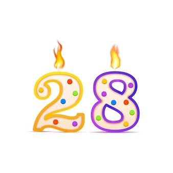 Dwudziestoośmioletnia rocznica urodzinowa świeca urodzinowa w kształcie 28 cyfr z ogniem na białym tle