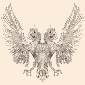 Dwugłowy orzeł z rozpostartymi skrzydłami.