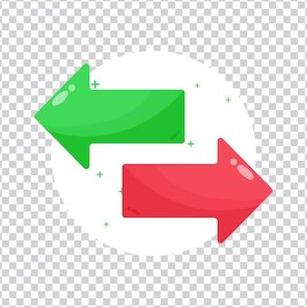 Dwukierunkowa ikona strzałki na pustym tle