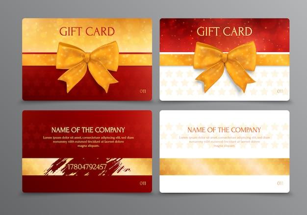 Dwukierunkowy projekt rabatowej karty podarunkowej z miejscem na nazwę firmy w kolorach złota i czerwieni na białym tle