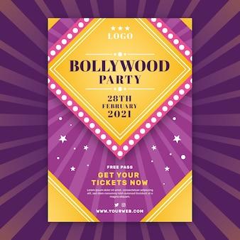 Dwukolorowe bollywood party plakat szablon