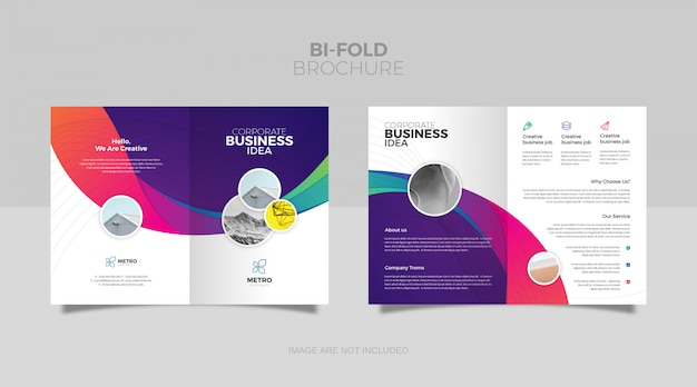 Dwukrotnie składany szablon broszury