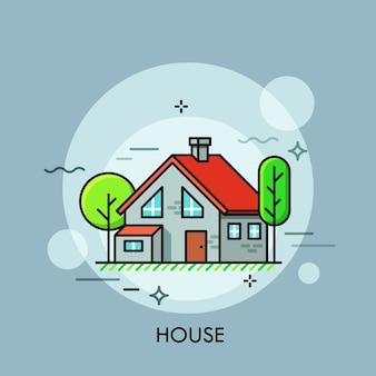 Dwupiętrowy dom z czerwonym dachem otoczony zielenią koncepcja osiedla mieszkaniowego