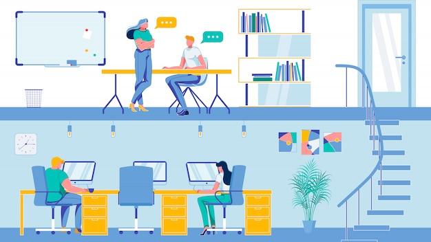 Dwupiętrowy pokój biurowy coworking do burzy mózgów.