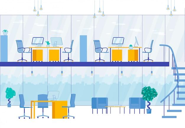 Dwupoziomowe wnętrze biurowe nowoczesne centrum biznesowe