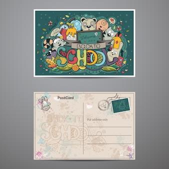 Dwustronna kartka o tematyce szkolnej z doodlami