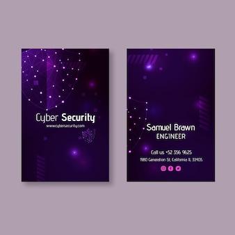 Dwustronna pionowa wizytówka z cyberbezpieczeństwem
