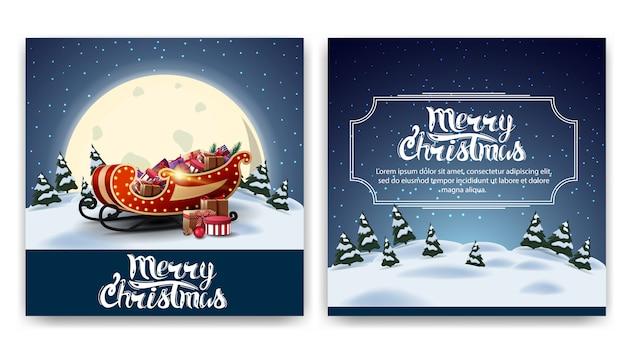 Dwustronna pocztówka świątecznego kwadratu z kreskówkowym zimowym krajobrazem