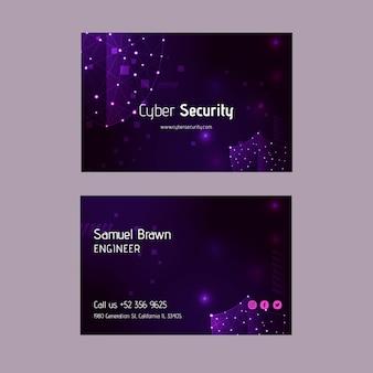 Dwustronna pozioma wizytówka z cyberbezpieczeństwem