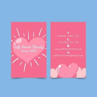 Dwustronna wizytówka charytatywna soft heart