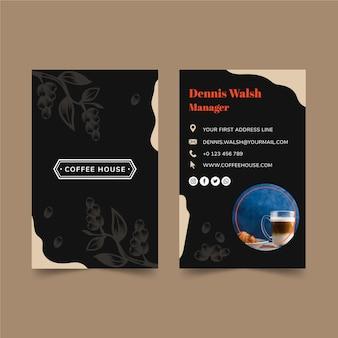 Dwustronna Wizytówka Kawowa Premium Wektorów