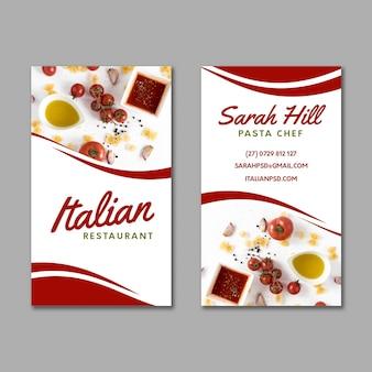 Dwustronna wizytówka kuchni włoskiej