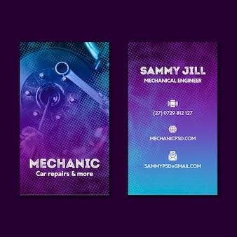 Dwustronna wizytówka mechanika samochodowego