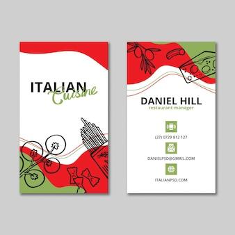 Dwustronna wizytówka włoskiego jedzenia