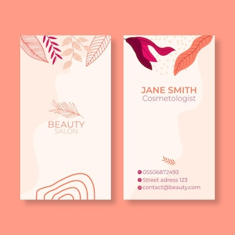 Dwustronny pionowy szablon wizytówki dla salonu piękności
