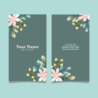 Dwustronny szablon wizytówki z kwiatami