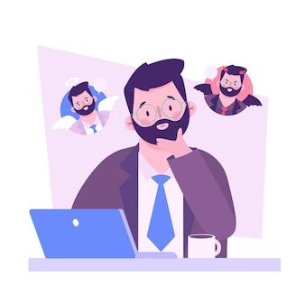 Dylemat etyczny z człowiekiem i laptopem