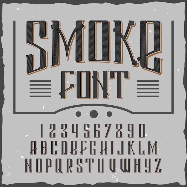 Dym litery czcionki alfabetu z numerami