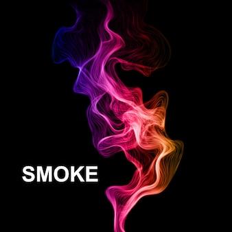 Dym na czarnym tle wektorowym.