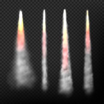 Dym rakietowy. realistyczny efekt szybkiego latania startowego statku kosmicznego dymu i ognia