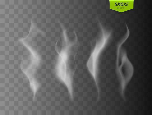 Dym wektor kolekcja biały na białym tle dym papierosowy przezroczysty efekt specjalny ilustracji wektorowych