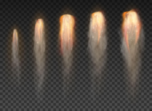 Dym z promu kosmicznego na przezroczystym tle