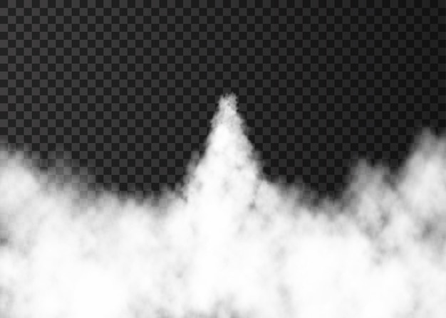 Dym z startu rakiety kosmicznej. mglisty szlak na przezroczystym tle. mgła. realistyczna tekstura wektor.