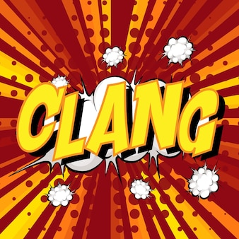 Dymek komiksowy z napisem clang na pęknięciu