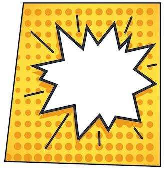 Dymek lub dymek z wykrzyknikiem lub krzykiem. chmura komiksów z miejsca kopiowania tekstu. naklejka na myśli lub linię. pop-art lub naklejka z niespodzianką. wektor w stylu płaskiej