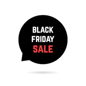 Dymek z czarny piątek sprzedaż i cień. koncepcja sprzedaży hurtowej, handlowej, promocyjnej, ekonomicznej, reklamowej, e-commerce, wyprzedaży okazyjnej. płaski trend nowoczesny projekt logo ilustracja wektorowa