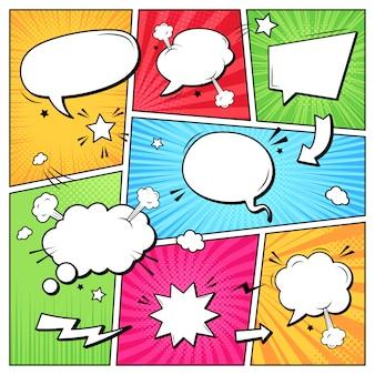 Dymki dialogowe komiksów. szablon strony notatnika superbohatera z kreskówek, puste komiczne chmury mowy, ilustracja szablonu układu ramki grafiki. tło pop-artu z pustymi balonami