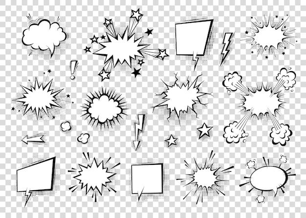 Dymki z cieniami półtonów w kreskówkowym, komiksowym stylu. balony dialogowe. szablon wektor dla mediów społecznościowych, banery sprzedaży.
