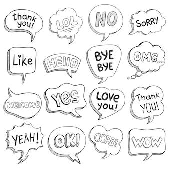 Dymki ze słowami dialogowymi. szkicuj różne kształty bańki z wiadomością, krótkie frazy dziękuję, pa, ok, omg, wow, lol wektor zestaw. balony komiksowe na myśl, pomysł, komentarz