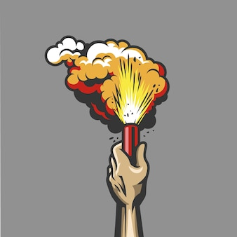 Dymna bomba w ręku