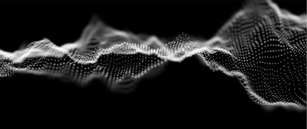 Dynamiczna biała fala cząstek abstrakcyjna wizualizacja dźwięku przepływowa struktura cyfrowa technologia danych