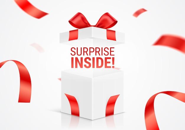 Dynamiczna ilustracja otwartego białego pudełka prezentowego z komunikatem surprise inside.