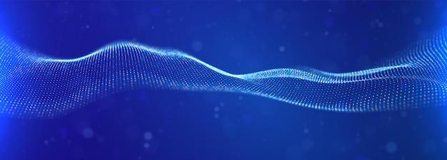 Dynamiczna niebieska fala cząstek abstrakcyjna wizualizacja dźwięku cyfrowa struktura przepływu