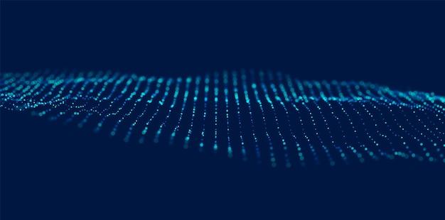 Dynamiczna niebieska fala cząstek abstrakcyjna wizualizacja dźwięku przepływowa struktura cyfrowa technologia danych