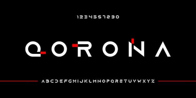 Dynamiczna nowoczesna typografia alfabet litery i cyfry czcionki