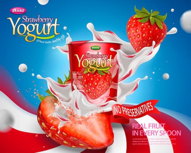 Dynamiczna reklama jogurtu truskawkowego z rozchlapywanymi nadzieniami i owocami na tle w paski